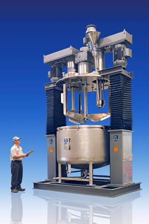 Mixing: Triple-Shaft Mixer with Powder Induction Manifold