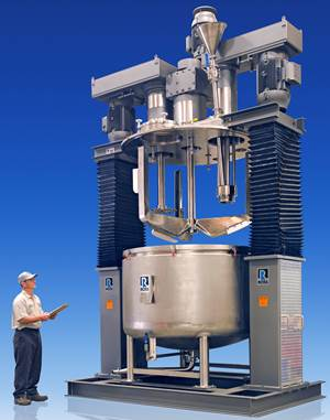 Mixing: Triple Shaft Mixer with Powder Induction Manifold