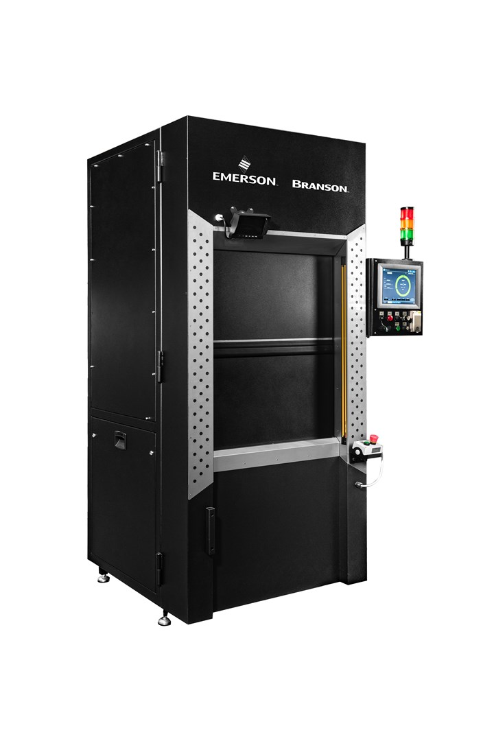 The Branson GL-300 plastics laser welds offers maximum flexibility