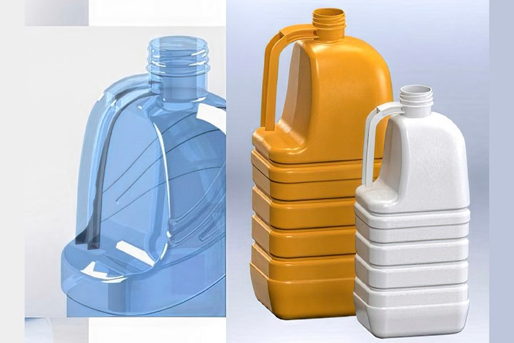 Priority Plastics' entry into ISBM includes PET handleware with integral handles similar to extrusion blown jugs.