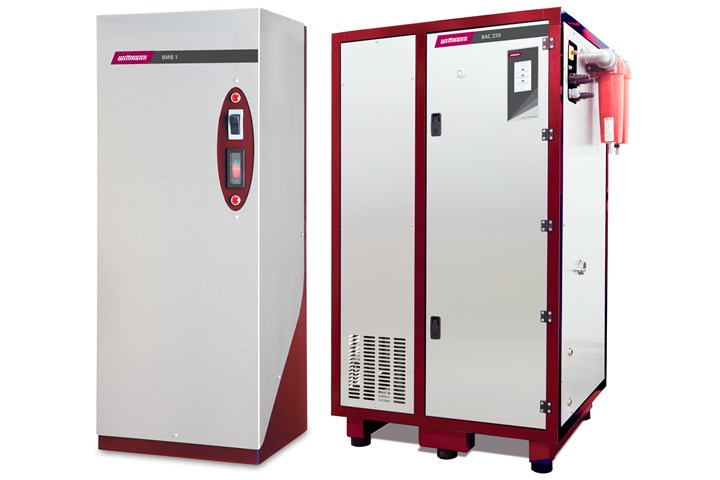 Wittmann Blow Molding Booster (l.) and Blow Air Chiller cool the insides of parts with chilled compressed air.