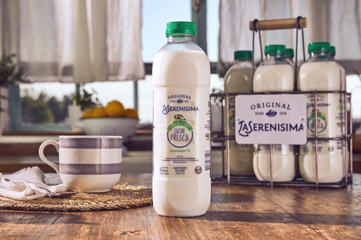 Fresh milk in clear PET bottle from Amcor