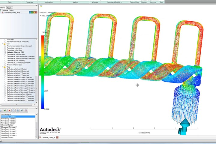 Conformal cooling is one innovative technology to be discussed at the Thursday morning General Session of the Molding 2021 Conference. (Photo: Autodesk Moldflow)