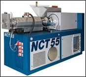 Conical corotating twin-screw reclaim extruder