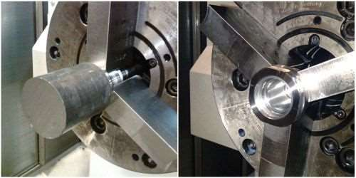 In the second operation, the part is machined to the complete part on the right.