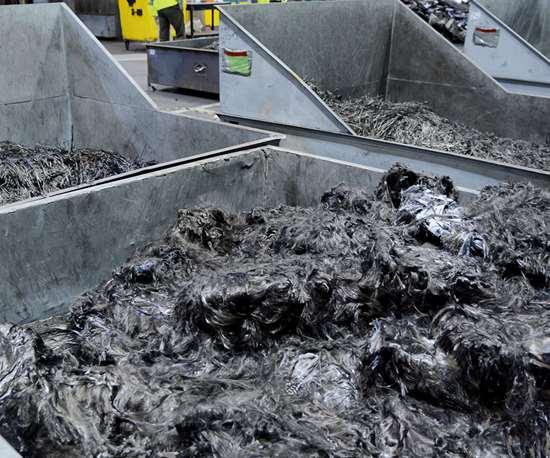 ELG Carbon Fibre feedstock, prior to pyrolisization.
