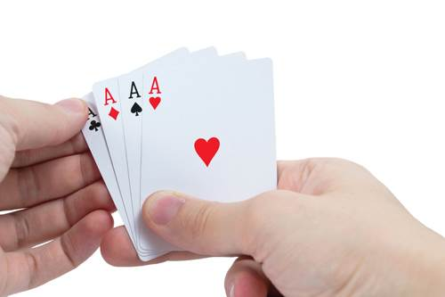 card hand of aces