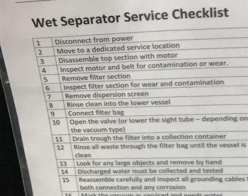 wet separator checklist