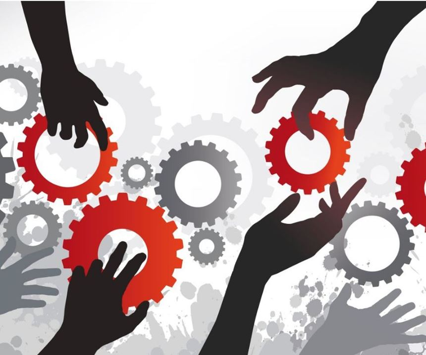 hands holding gears