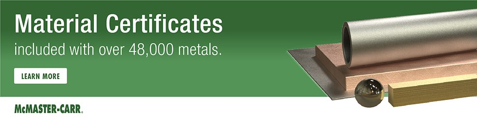 McMaster-Carr material certificates for metals