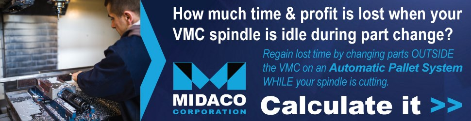 Midaco blue logo & machinist changing part in VMC