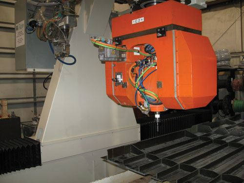 rotary spindle on waterjet machine