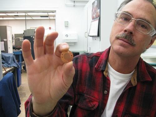 Peter Bruneau shows a component