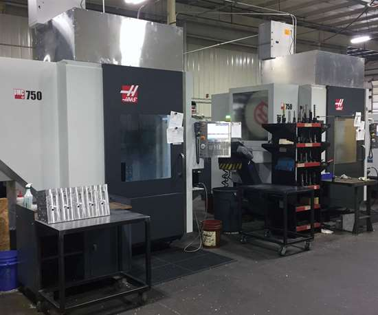 Two Haas UMC-750 five-axis machining centers that Creative Blow Mold Tooling purchased.