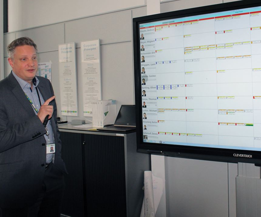 Sven Holsten explains the company's unique touchscreen planning tool on a large screen.