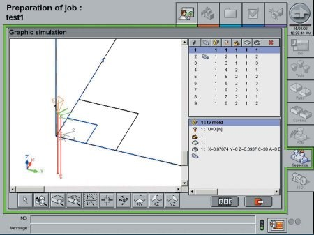 2-D and 3-D simulation and monitoring of the job.