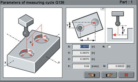 Graphical interface for measuring workpieces.