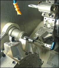 Part in the main spindle is machined simultaneously