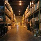 Aisle in PII's 80,000-sq-ft warehouse before