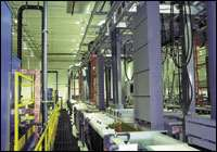 View down the line of the split rail zinc plating system