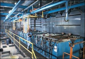 Automated nickel/chrome plating line