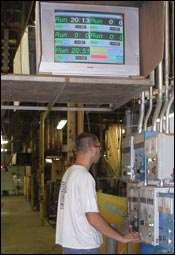A video screen near the chrome line
