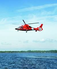 exterior of a Coast Guard HH-65 helicopter
