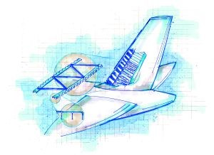 Schematic of A380 vertical tail rib structure