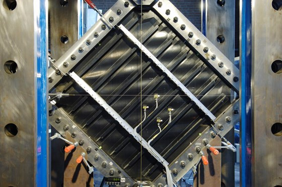 CFRP panel undergoes a shear test