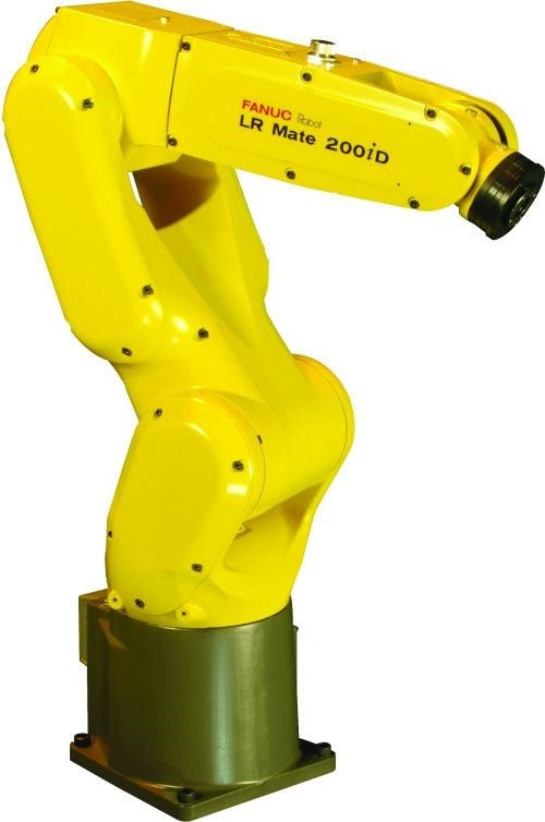 FANUC's LR Mate 200iD mini robot is approximately the size of a human arm with all cabling, air tubes and valves enclosed within the device, enabling it to be installed inside a machine with minimal interference.