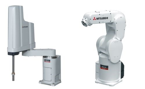Mitsubishi Electric Automation offers both SCARA robots and articulated robots in its F series. Payloads ranging from 2 to 20 kg are available.