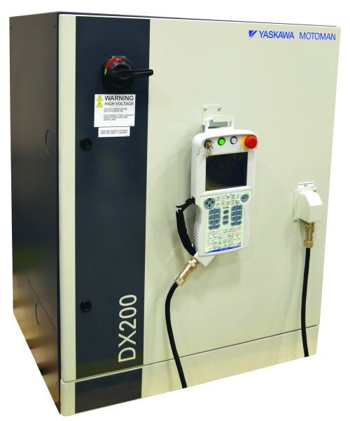 Yaskawa Motoman's DX200 robot controller can control as many as eight robots—or 72 axes—and help conserve power by as much as 70 percent over previous generations, the company says.