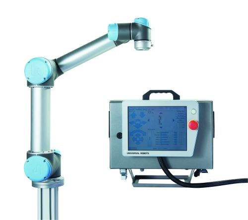 The UR5 robotic arm from Universal Robots measures electrical current within the joints to determine force and movement and will stop operating if an obstacle is detected, enabling the robot to work alongside personnel without safety shielding in most cases.