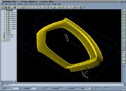 PowerMILL toolpath image of the arm of a highly stylized chair.