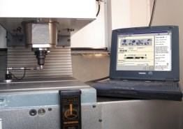 A ballbar monitors machine tool spindle movement